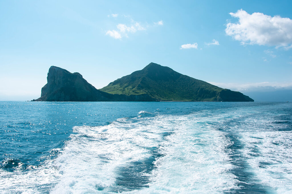 View on Turtle Island in Taiwan from a boat